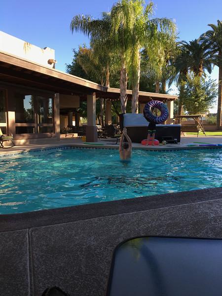 Boys using the pool