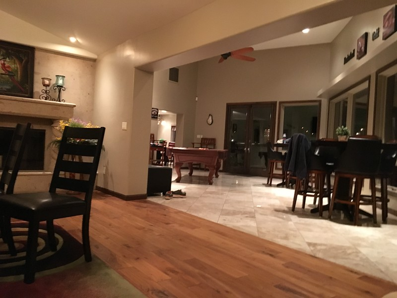 View of the game room with pool table