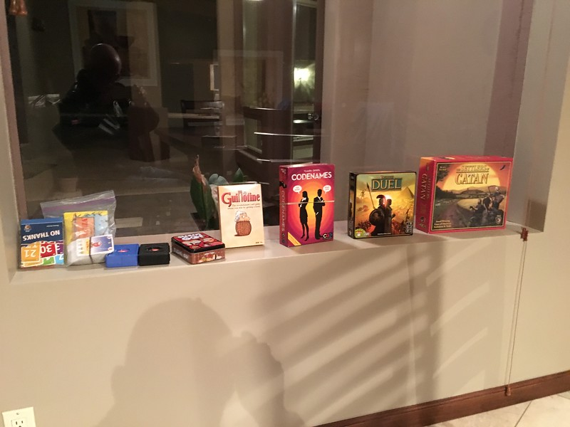 Some of the board games we played