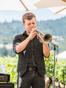 The trumpet player, playing heart out Photo by Jon McPherson for Napa Valley Vintners