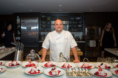 Chef Nash Cognetti shares desert with guests at the Gargiulo Vineyard party.  Briana Marie Photography for Napa Valley Vintners