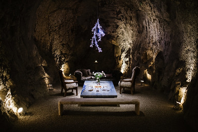 Inside the caves at Hourglass where the desserts were served.   Photo by Bob McClenahan for the Napa Valley Vintners