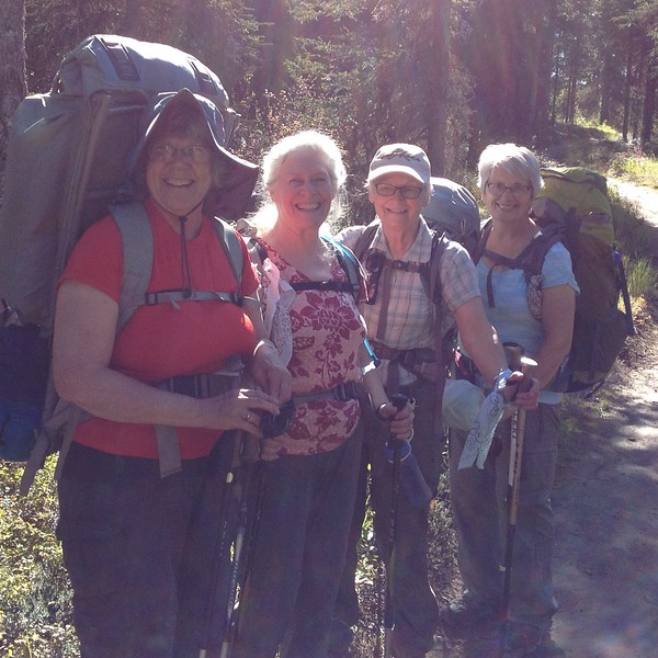 Two young men were picking blueberries when we passed and were kind enough to take a photo.  Kari, Sally, Paula, Norma.  Mine is the only external frame pack.  That's why it looks so big.