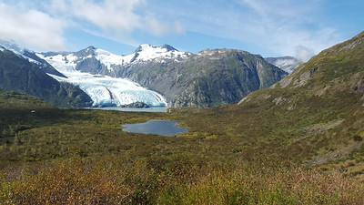 The view from our lunch spot.  Portage Glacier, Portage Lake and the little dot on the far lake is the tour boat.