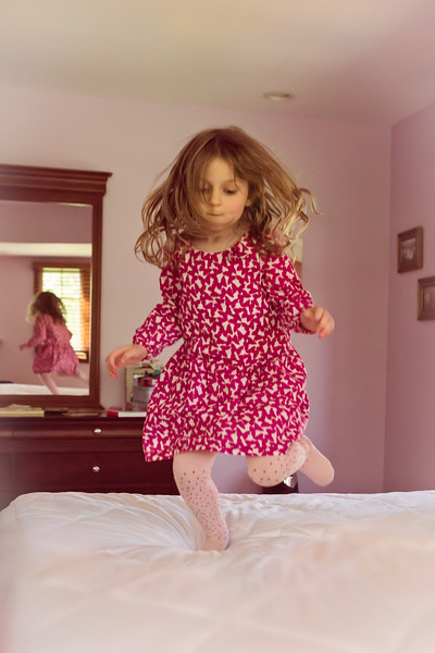 2016 May 2  Ava jumping on her bed