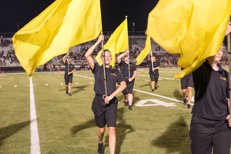 Dripping Springs High School Tiger Band, 2016 Game 1 away at Bastrop Memorial Stadium on Friday 8/26/13. Photo by Bailey Laux.