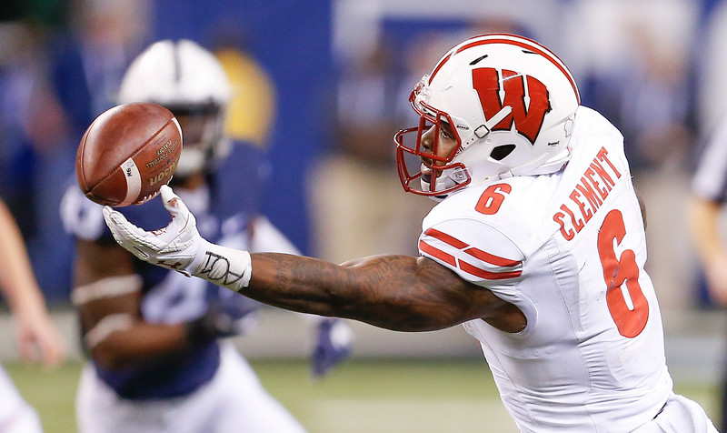Wisconsin Badgers running back Corey Clement (6) hauls in this pass during the second half of the Wisconsin Badgers against the Penn State Nittnay Lions for the Big Ten football championship at Lucas Oil Stadium in Indianapolis, Ind., Sunday, Dec. 4, 2016. Penn State won the game 38-31. (Photo by Sam Riche)
