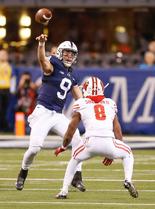 Penn State Nittany Lions quarterback Trace McSorley (9) throws during the first half of the Wisconsin Badgers against the Penn State Nittnay Lions for the Big Ten football championship at Lucas Oil Stadium in Indianapolis, Ind., Saturday, Dec. 3, 2016. (Photo by Sam Riche)
