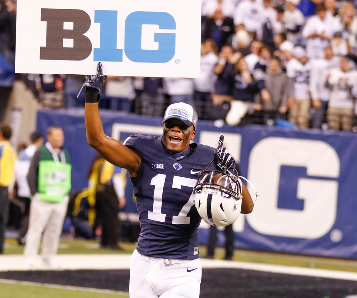 Penn State Nittany Lions cornerback Garrett Taylor (17) celebrates the win during the second half of the Wisconsin Badgers against the Penn State Nittnay Lions for the Big Ten football championship at Lucas Oil Stadium in Indianapolis, Ind., Sunday, Dec. 4, 2016. Penn State won the game 38-31. (Photo by Sam Riche)