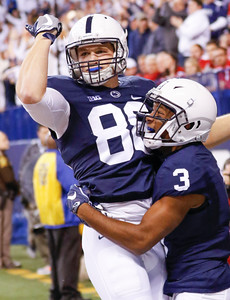 Penn State Nittany Lions tight end Mike Gesicki (88) celebrates his touchdown with teammate Penn State Nittany Lions wide receiver DeAndre Thompkins (3) during the first half of the Wisconsin Badgers against the Penn State Nittnay Lions for the Big Ten football championship at Lucas Oil Stadium in Indianapolis, Ind., Saturday, Dec. 3, 2016. (Photo by Sam Riche)