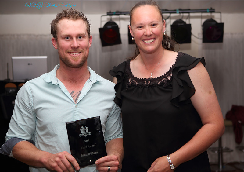 "Kiosk Award went to Beau O'Mara and presented by ""Mads"""