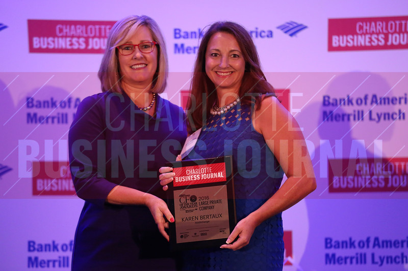 Karen Bertaux of AvidXchange accepts her CFO of the Year Award for large private companies.