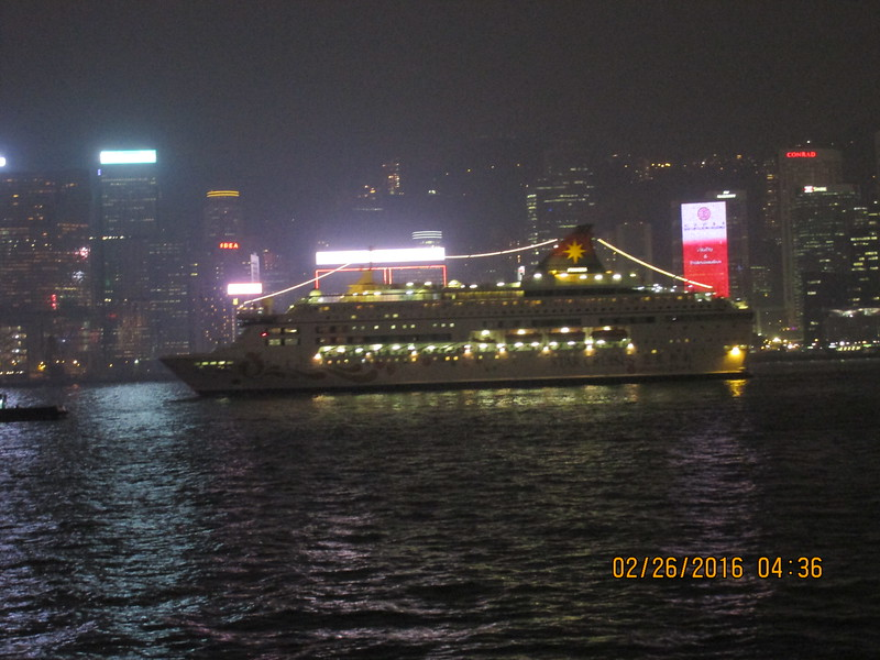 0015 - Night View Cruise Ship in Hong Kong Harbour which just left Kowloon Cruise Pier - Hong Kong China - Date/Time on Pic is Wrong