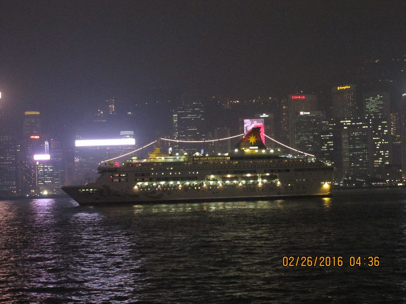 0014 - Night View Cruise Ship in Hong Kong Harbour which just left Kowloon Cruise Pier - Hong Kong China - Date/Time on Pic is Wrong