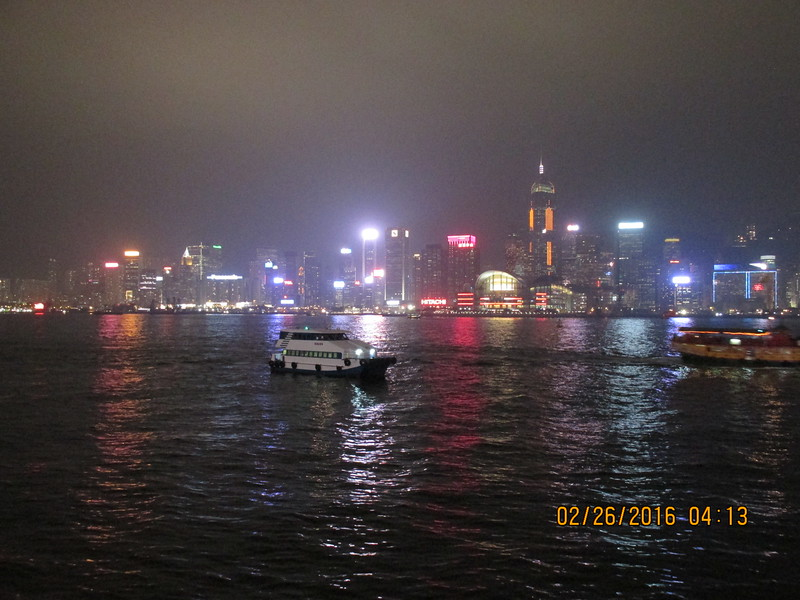 0007 - Night View of Hong Kong Harbour and Island from Kowloon - Hong Kong China - Date/Time on Pic is Wrong