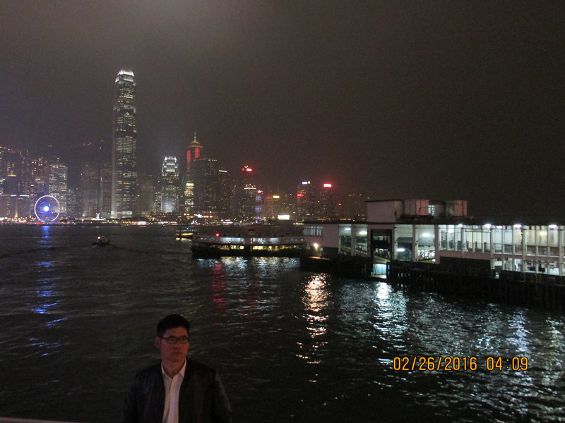 0003 - Night View of Hong Kong Harbour and Island from Kowloon - Hong Kong China - Date/Time on Pic is Wrong