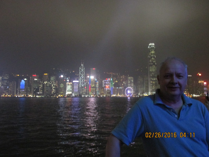 0006 - Night View of Hong Kong Harbour and Island from Kowloon - Hong Kong China - Date/Time on Pic is Wrong