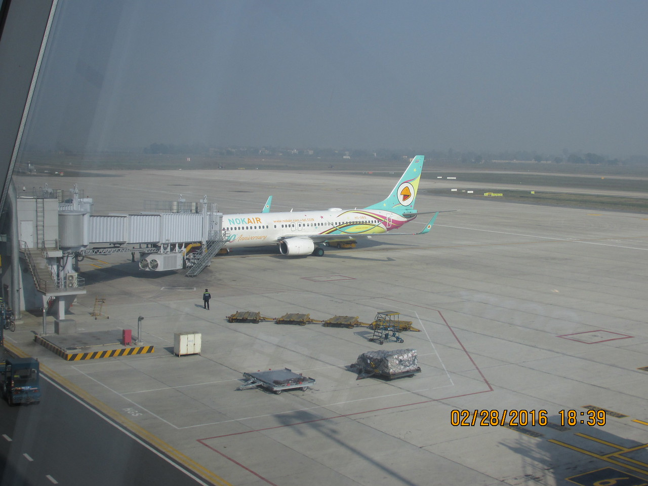0097 - Nokair Airplane from Thailand at Hanoi Airport - Hanoi Vietnam - Date Correct but Time on Pic is Wrong