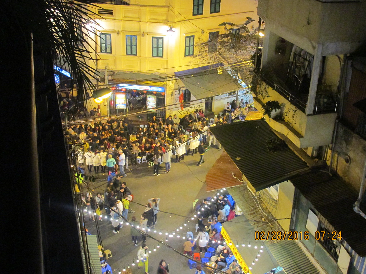 0094 - View from Balcony of Essence d'Orient Hotel overlooking Ta Hiem St in Old Quarter - Hanoi Vietnam - Date Correct but Time on Pic is Wrong