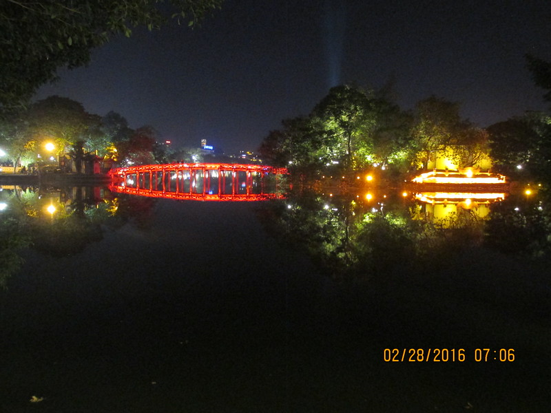 0087 - Night View of Hoan Kiem Lake in the Old Quarter - Hanoi Vietnam - Date Correct but Time on Pic is Wrong