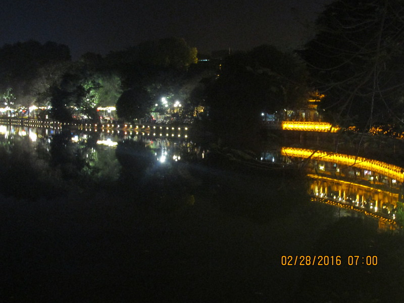 0083 - Night View of Hoan Kiem Lake in the Old Quarter - Hanoi Vietnam - Date Correct but Time on Pic is Wrong