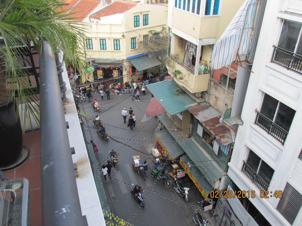 0032 - View from Balcony of Essence d'Orient Hotel overlooking Ta Hiem St in Old Quarter - Hanoi Vietnam - Date Correct but Time on Pic is Wrong