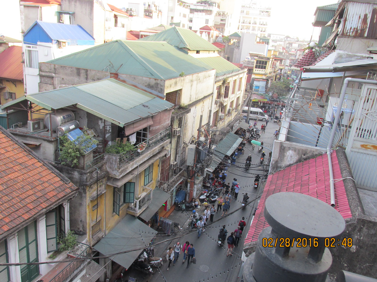 0034 - View from Balcony of Essence d'Orient Hotel overlooking Ta Hiem St in Old Quarter - Hanoi Vietnam - Date Correct but Time on Pic is Wrong