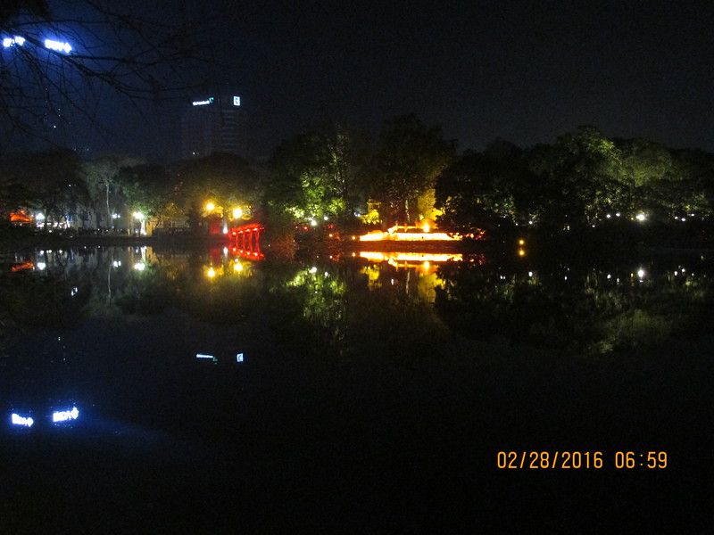 0080 - Night View of Hoan Kiem Lake in the Old Quarter - Hanoi Vietnam - Date Correct but Time on Pic is Wrong