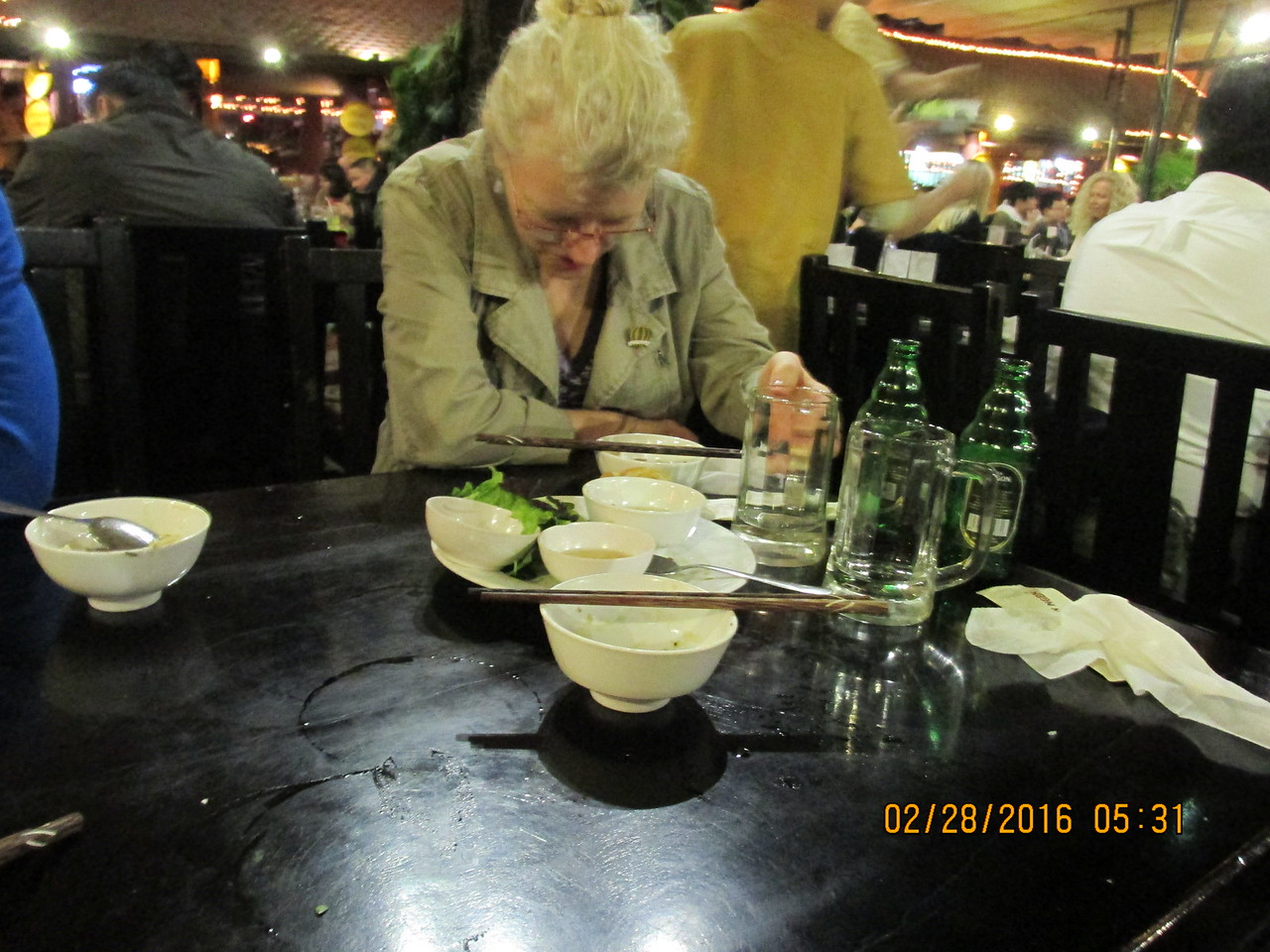 0065 - Sarah at Quan An Ngon Restaurant on Phan Boi Chau - Hanoi Vietnam - Date Correct but Time on Pic is Wrong