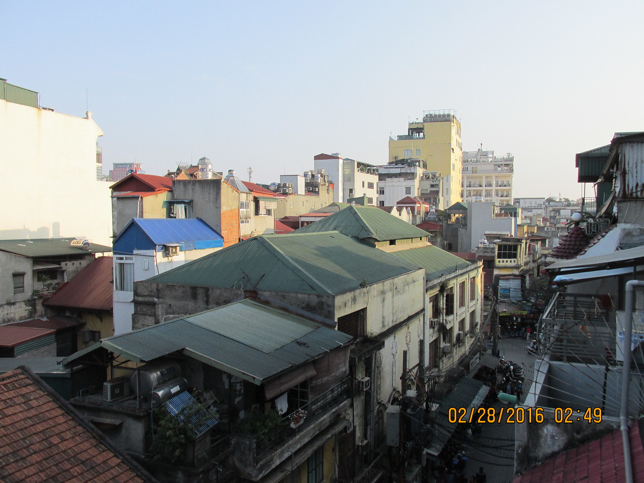 0037 - View from Balcony of Essence d'Orient Hotel overlooking Ta Hiem St in Old Quarter - Hanoi Vietnam - Date Correct but Time on Pic is Wrong