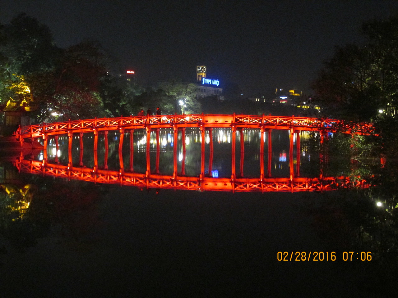 0088 - Night View of Hoan Kiem Lake in the Old Quarter - Hanoi Vietnam - Date Correct but Time on Pic is Wrong