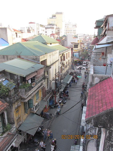 0035 - View from Balcony of Essence d'Orient Hotel overlooking Ta Hiem St in Old Quarter - Hanoi Vietnam - Date Correct but Time on Pic is Wrong