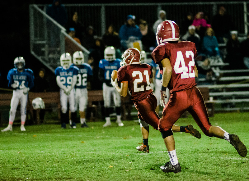Fitchburg's Hilario Rodriguez catches a pass during the annual Chicken Bowl JV game against Leominster on Friday evening. SENTINEL & ENTERPRISE / Ashley Green