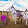 2016 Ava poses with the 3 donkeys