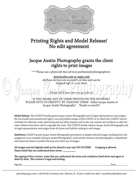 Printing Rights and no edit agreement