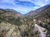 Drone shot looking North up highway 550 towards Ouray.
