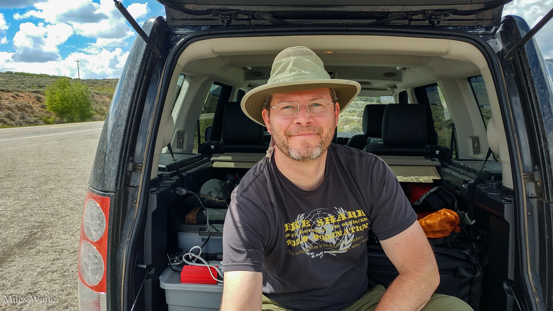 Hey it's me, sitting on the back of the tailgate, waiting for the rain to stop. Getting ready to head into the Black Canyon of the Gunnison. Well once the rain stops.