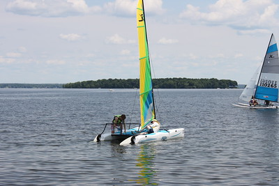 Hobie Wave Skipper Gabe Longo with newbie crew