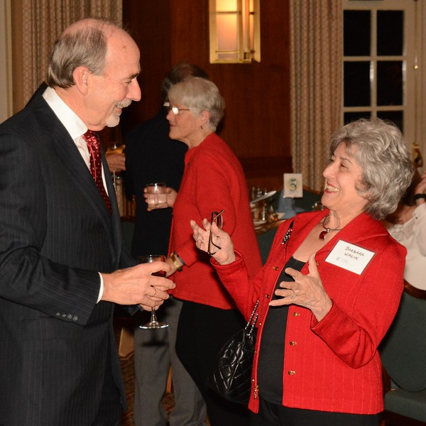 Sam Odom, director of the Frank Porter Graham Child Development Institute, shares a laugh with retired faculty member Barbara Wasik. Wasik served as interim director of FPG recently during a leave by Odom.