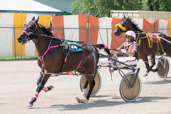 Pamela Coleman and her horse, Josting Jack, try to maintain their lead in a harness race at the Effingam County Fair.<br /> Trent Pearcy photo
