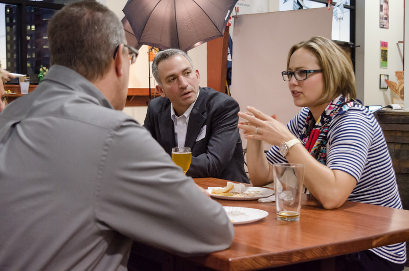 Buffalo State's Alumni Association puts on a Headshot happy hour at the flying bison.