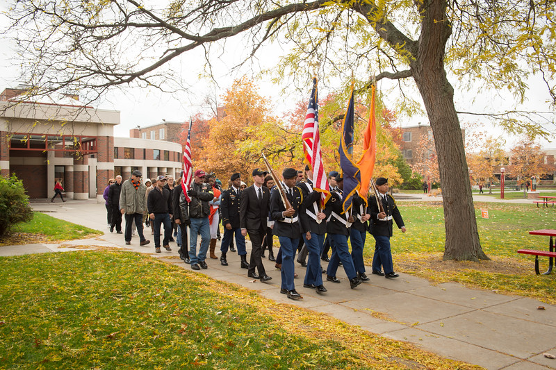 Silent March and Veteran's Day rememberance ceremony at Buffalo State College.