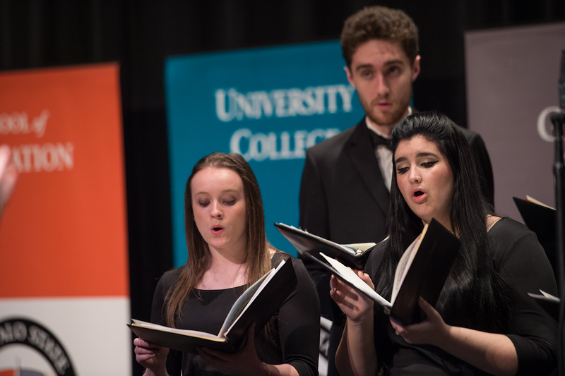 Student chorus performing during the Honors Convocation at Buffalo State College.