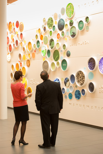 Donor wall in the Science and Mathematics Atrium at Buffalo State College.