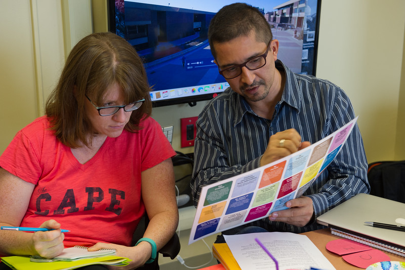 Students working together in Creative Studies course at Buffalo State College.