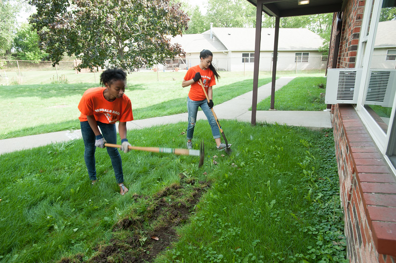 Bengals Dare to Care volunteer community service day at Buffalo State College.
