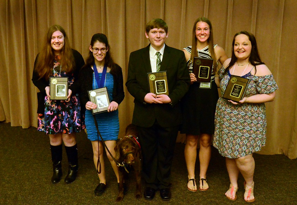 . The winners of the 2016 Excellence in Education.  From left. Sheridan Nunnery, International Academy, Megan Braun, South Lyon East, Alexander Smith, Farmington Harrison, Lisa Kamsickas, Academy for the Sacred Heart and Morgan Ratliff, Waterford Kettering,   The awards were held at the Oakland Schools building.   Thursday, April 22, 2016.  Tim Thompson-The Oakland Press