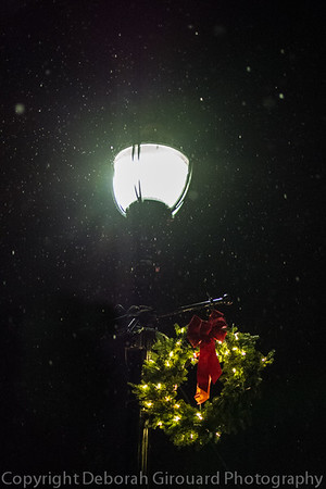 Lamp post and holiday wreath.