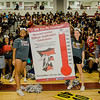 Seniors show off that 95% of the senior class has applied to at least one college during Fitchburg High's annual Thanksgiving pep rally on Wednesday morning. SENTINEL & ENTERPRISE / Ashley Green