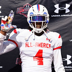 Lakeland Senior High School wide receiver James Robinson and some of the nations best high school football players practice and run drills during the first day of practice for the 2016 Under Armour All-America High School Football Game at the ESPN Wide World of Sports in Orlando, Florida  December 38th, 2016. Gator Country photo by David Bowie.
